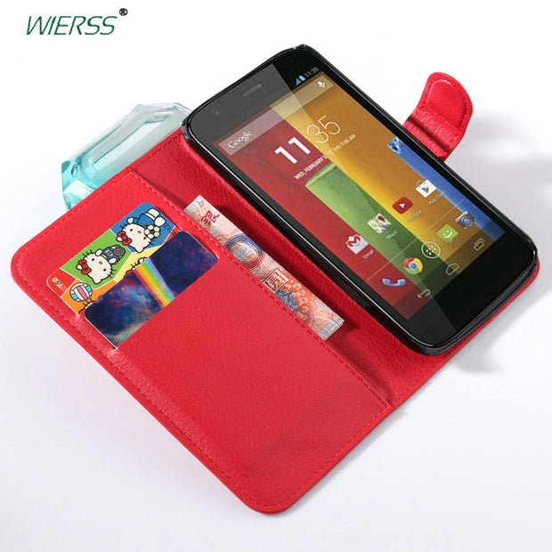 Wallet Flip Leather Case For Motorola Moto G 2nd Gen 2014 For Moto G2 G+1 Dual SIM LTE Phone Leather Back Cover Case With Stand>