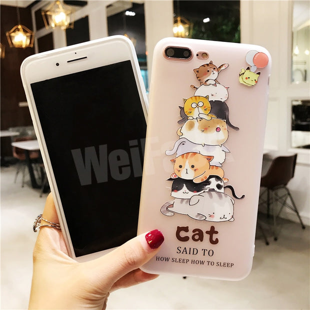 WeiFaJK 3D Cartoon Silicone Case For IPhone 6 6s For IPhone 7 Cases Flower Matte Soft TPU Cover For IPhone 6 6s 7 8 Plus X Case