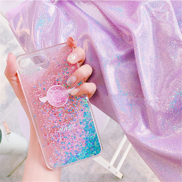 Wing Star Phone Cases For IPhone 6 6S Plus Silicon Bring Glitter Crystal Sequins Soft TPU Back Cover For IPhone 7 8 Plus X