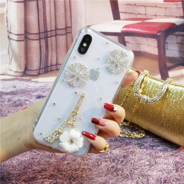 XSMYiss Phone Case Bling Diamond For Samsung Galaxy A3 A5 A7 J3 J5 J7 2016 2017 Versionr Transparent Crystal Cover Crown Flower