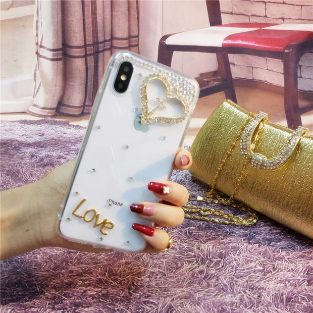 XSMYiss Phone Case Bling Diamond For SamsungS5 S6 S7 S8 S9 Plus Note 3 4 5 8 Clear Crystal Cover Crown Flower Decora Phone Case