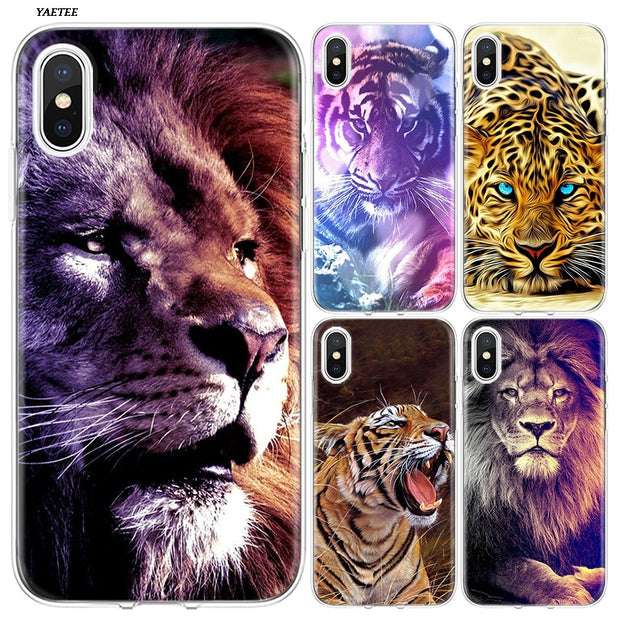 YAETEE Big Lion On Stone Snow Silicone Case Cover Hull Shell For Apple IPhone 7 8 6 6s Plus X 5 5S SE 5C
