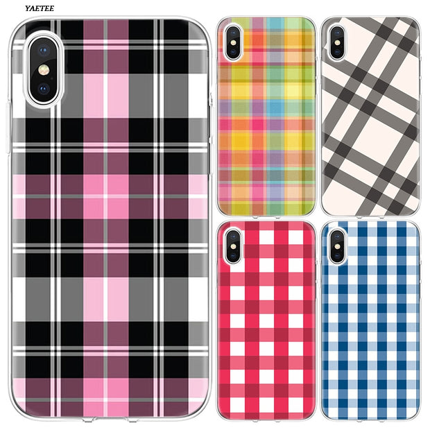 YAETEE Colourful Check Gingham Plaid Wildflower Silicone Case Cover Hull Shell For Apple IPhone 7 8 6 6s Plus X 5 5S SE 5C