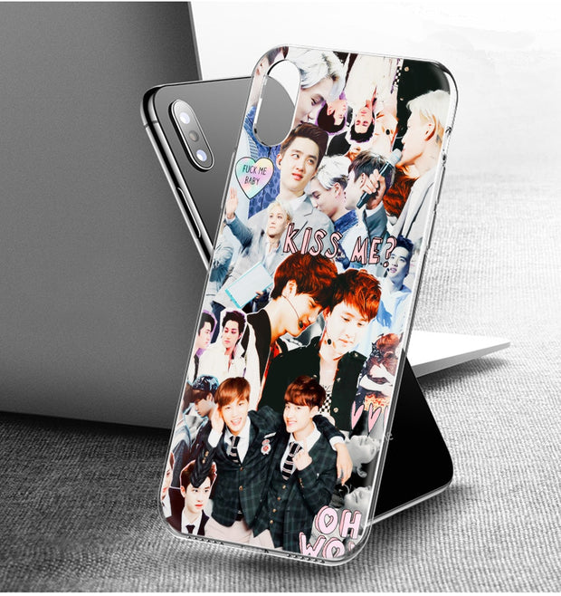YAETEE EXO BOYS Silicone Case Cover Hull Shell For Apple IPhone 7 8 6 6s Plus X 5 5S SE 5C