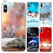 YAETEE Merry Christmas Snow Silicone Case Cover Hull Shell For Apple IPhone 7 8 6 6s Plus X 5 5S SE 5C