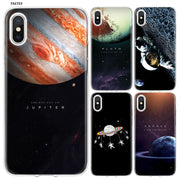 YAETEE Space Astronauts Go Round Planet Silicone Case Cover Hull Shell For Apple IPhone 7 8 6 6s Plus X 5 5S SE 5C