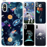 YAETEE Space Travel Silicone Case Cover Hull Shell For Apple IPhone 7 8 6 6s Plus X 5 5S SE 5C