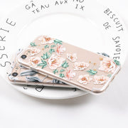 YHCSZ Emboss Flowers Transparent Soft TPU Back Phone Case For IPhone 6 6S 7 8 Plus X