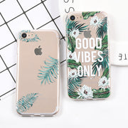 YHCSZ Leaves Letter Print Transparent Soft TPU Phone Case For IPhone 6 6S 7 8 Plus X