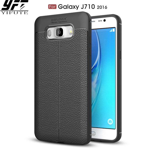 hot sale online 4b982 5ae10 YIFUTE Carbon Fiber Leather Case For Samsung Galaxy J710 Case Cover Slim  Silicone Shockproof Back Cover For Samsung J7 2016 Case