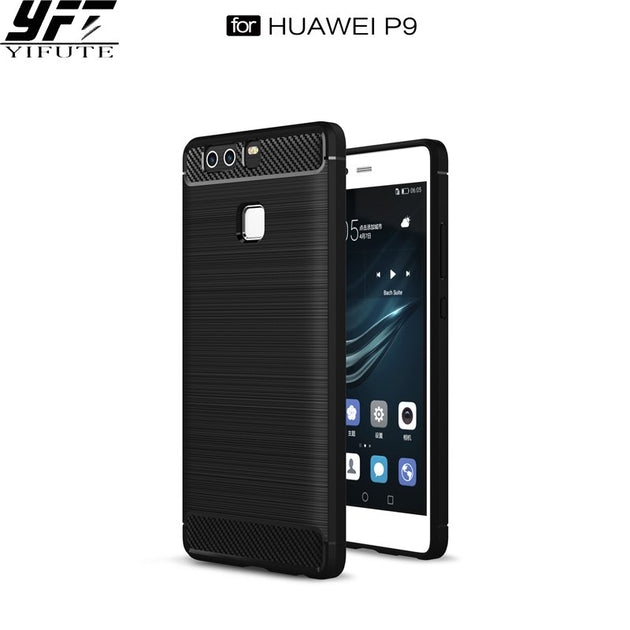 YIFUTE Phone Cases For Huawei P9 Case Phone Cover Luxury Slim Soft TPU  Carbon Fiber Texture Anti-knock For Huawei P9 Case Cover