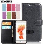 "YINGHUI Hot Luxury Flip Wallet Case For Apple IPhone 6 6s Plus 6plus 5.5"" Brand Leather Case Gift Cover For IPhone 6 Plus Coque"