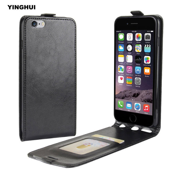 "YINGHUI Vertical Flip Protective Phone Cover For Apple IPhone 6 Plus 5.5"" Luxury Crazy Horse Pattern Leather Fundas Case 6S Plus"