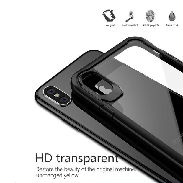 YISHANGOU Fashion Transparent Cover For IPhone X Case Full TPU PC Clear Back Capa For IPhone 8 Plus 7 Plus Camera Protect Cover
