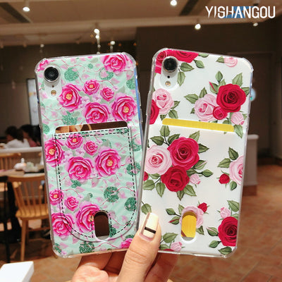 YISHANGOU Flower Floral Card Slots Case For IPhone X XR XS Max Cards Holder Pocket Silicon Soft Cover For IPhone 6 6S 7 8 Plus