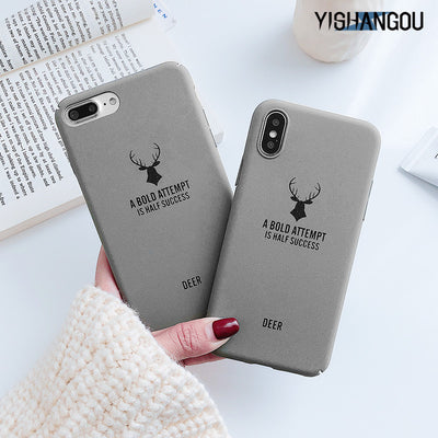 YISHANGOU Funny Letter Deer Foot Phone Case For IPhone X 7 8 6 6s Plus Ultra Slim Hard Plastic Matte Cover For IPhone XR XS Max