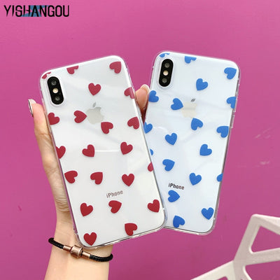 YISHANGOU Lovely Love Hearts Pattern Case For IPhone 6 6s Plus 10 Soft Silicon Clear Cover For IPhone X XR XS Max 7 8 Plus Coque