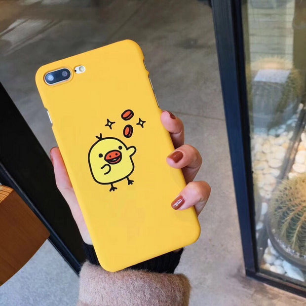 YISHANGOU Lovely SimSimi Phone Case For IPhone X 10 8 Plus Hard PC Plastic Anti-skid Yellow Back Cover For IPhone X 6 6S 7 Plus