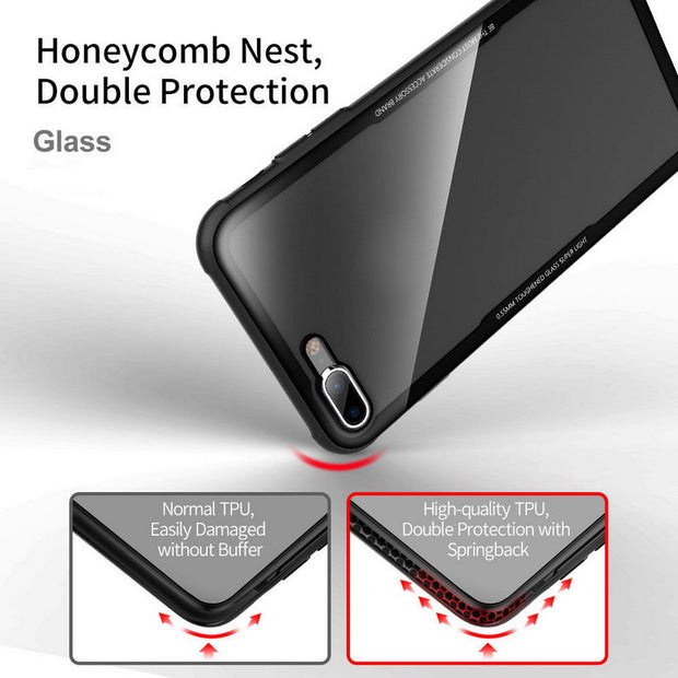 YISHANGOU Luxury 9H 0.5mm Tempered Glass Mirror Hybrid Soft TPU Frame Bumper Shockproof Case For IPhone X 8 Plus 6 6S 7 Plus