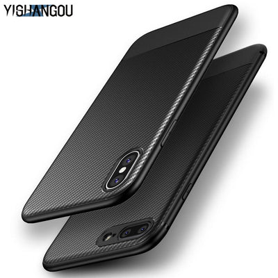 YISHANGOU New Carbon Fiber Phone Case For IPhone XS Max X XR Matte Silicon Cases Soft Back Cover For IPhone 6 6S 7 8 Plus Coque