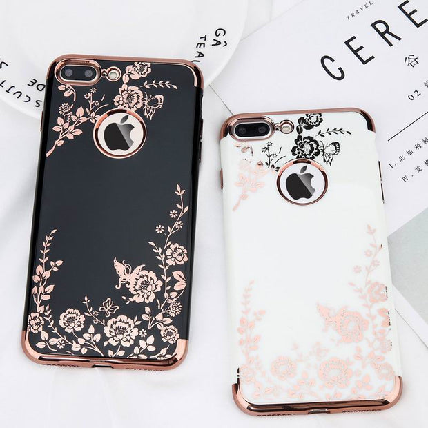 YISHANGOU Phone Case For IPhone X 7 Plus 6 6S Plus Luxury Secret Garden Flowers Plating Soft TPU Silicon Shockproof Cover Shell