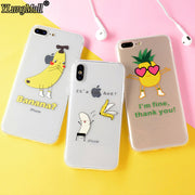YLungMal Funny Fruit Pineapple Banana Phone Case For IPhone X Soft Clear TPU Cover Fundas For IPhone 7 6 6S 8 Plus Summer Case