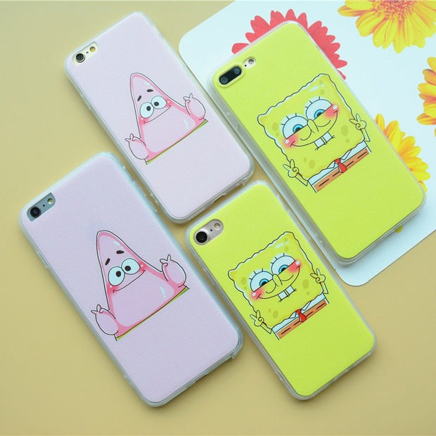 YLungMall Lovely Fundas Coque Case For Iphone 7 8 6 6S PLus X Case Best Friend Sponge Bob Patrick Pink Pattern Phone Cases Cover