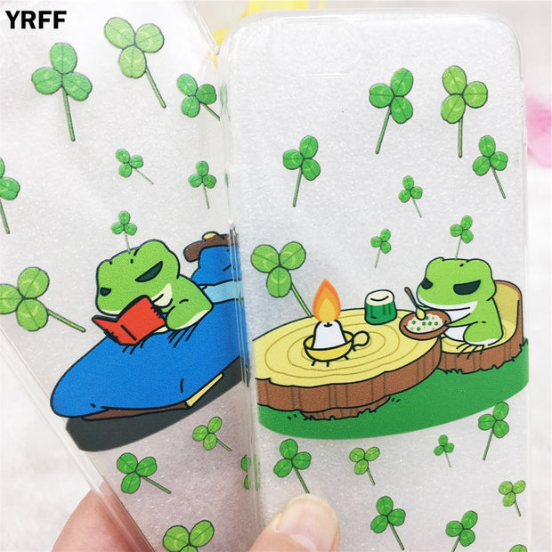 YRFF Hot Lovely Travel Frog Pattern Phone Case For Iphone 6 6s Soft TPU Case Cover For Iphone 6 Plus 6s Plus