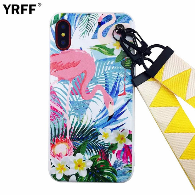 YRFF Lovely Animal Flamingo Phone Cases For Iphone 8 Case Soft Cover For Apple Iphone 7 Plus For Iphone 8 Plus Cartoon Case