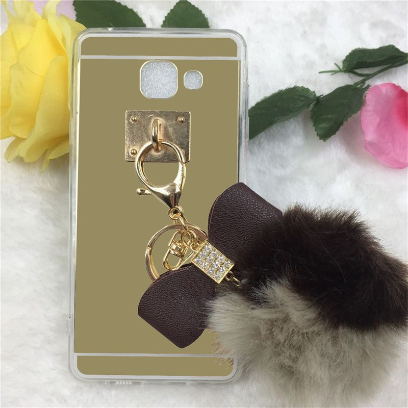 Yrff New Cute Rhinestone Bow Color Hairy Fur Ball Luxury Mirror Case Cover For Samsung Galaxy J5 2015 J7 2015 Phone Cases Fitted Cases