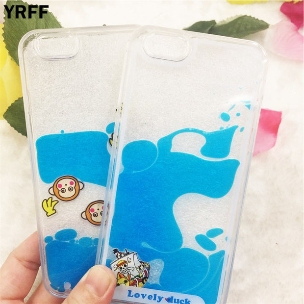 YRLL Lovely Monkey Pirate Ship Blue Liquid Case For Iphone 7 8 6s 6 Plus Hard Cover Cases For Iphone X Case