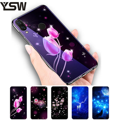 YSW For Huawei Nova 3 2018 Tempered Glass Case Cover Plating Blue Light TPU Edge Luxury Protective Flowers Pattern Funda Capa