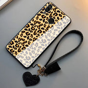 YSW For Huawei P30 P30 Pro Luxury Leopard Pattern Tempered Glass Case For Huawei Nova 4 Hard Cover With Tassel Strap Funda Capa