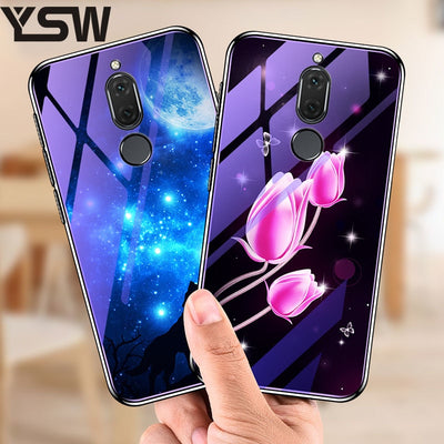 YSW Tempered Glass Case For Huawei Mate 10 Lite Plating Blue Light Luxury Tempered Glass Case Flowers Pattern For Huawei Nova 2i