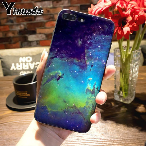 Yinuoda Colorful Space Stars Universe Cloud Phone Case For IPhone 7plus 6S 6plus 7 8 8Plus X 5 5S Case Cover