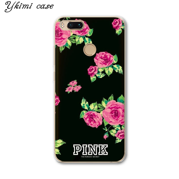 Ykimi Case Fashion PINK Flower Cover For Xiaomi Mi 5 6 6x A1 A2 8 Se Mix 2 2s Max 3 Case Transparent Soft TPU Silicone Capa