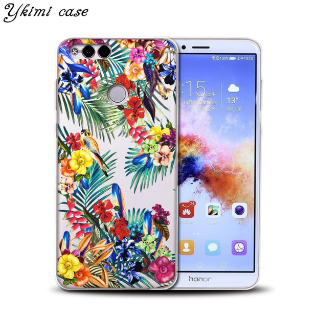 Ykimi Case For Huawei Honor 6A 7X 8 9 9i 10 Case Fashion Beautiful Cartoon Flower Cover Transparent TPU Soft Silicone Phone Capa