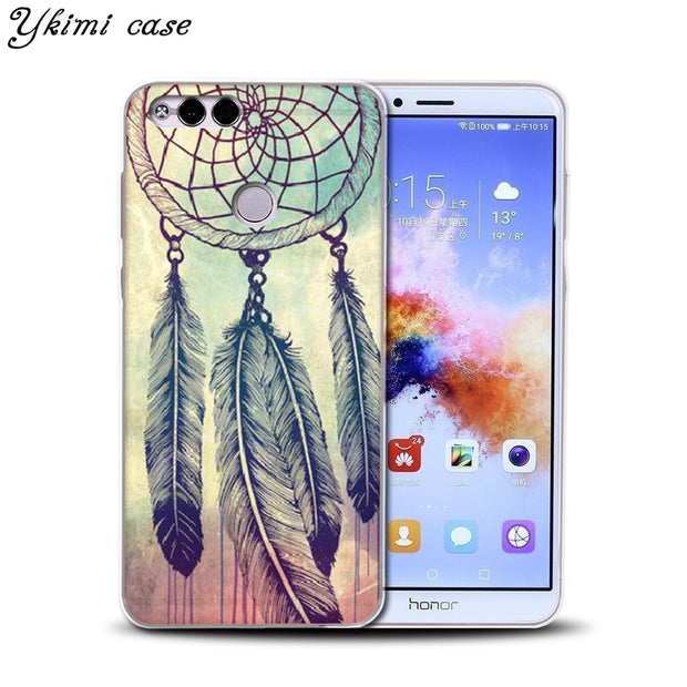 Ykimi Case For Huawei Honor 6A 7X 8 9 9i 10 Case Fashion Beautiful Dreamcatcher Design Cover Transparent TPU Soft Silicone Capa