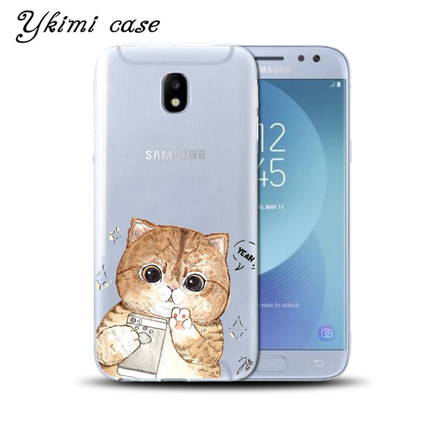 Ykimi Case For Samsung J3 J5 J7 2017 Eurasian Version J3 J4 J6 J8 2018 Case Super Cute Cartoon Cat Cover TPU Soft Silicone Capa