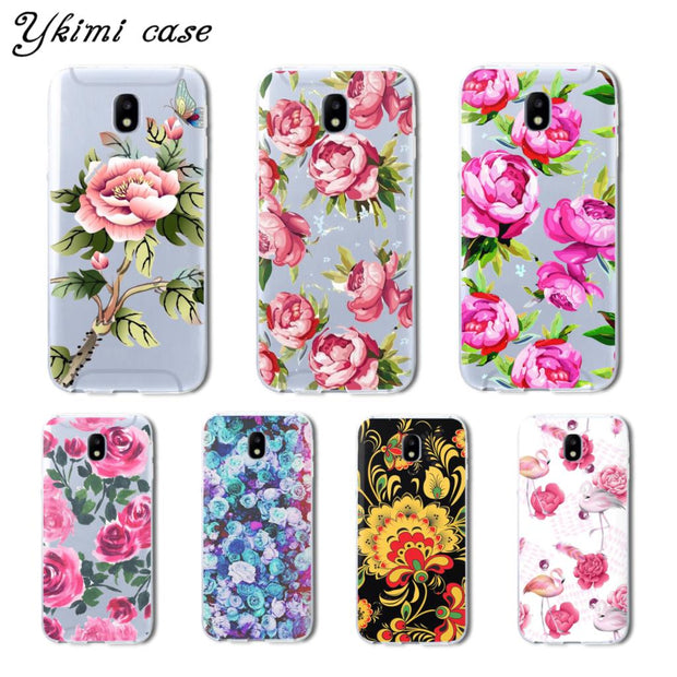 Ykimi Case For Samsung J3 J5 J7 2017 Eurasian Version J3 J4 J6 J8 2018 Case Beautiful Flowers Cover TPU Soft Silicone Capa