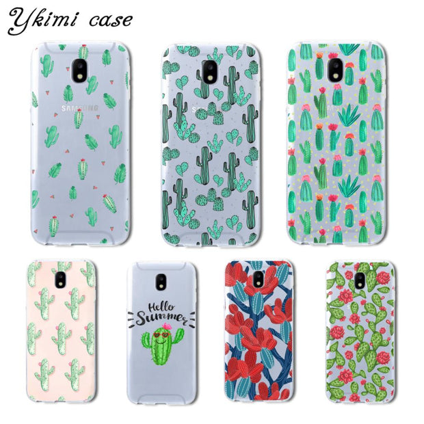 Ykimi Case For Samsung J3 J5 J7 2017 Eurasian Version J3 J4 J6 J8 2018 Case Cartoon Cactus Cover TPU Soft Silicone Capa