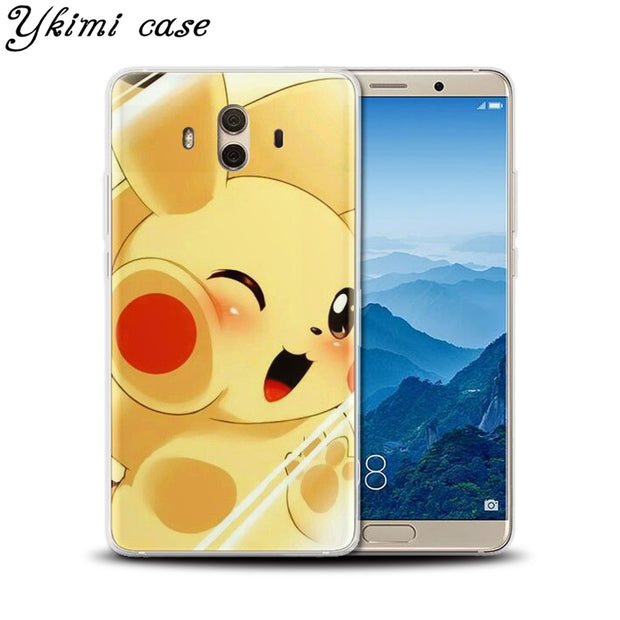 Ykimi Case Soft TPU Silicone Pokemon Face Hits The Glass Cover For Huawei MATE 8 9 10 Lite Pro Case Nova Lite 2 2s 3 3i 3e Case