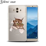 Ykimi Case Soft TPU Silicone Super Cute Cartoon Cat Cover For Huawei MATE 8 9 10 Lite Pro Nova Lite 2 2s 3 3i 3e Case