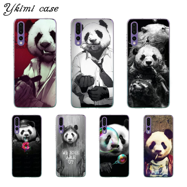 Ykimi Case Transparent Soft TPU Silicone Cartoon Anthropomorphic Panda Cover For Huawei P8 P9 P20 Lite 2017 P20 Pro Case