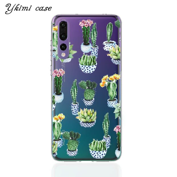 Ykimi Case Transparent Soft TPU Silicone Cartoon Cactus Cover For Huawei P8 P9 P20 Lite 2017 P20 Pro Case