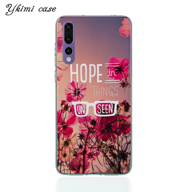 Ykimi Case Transparent Soft TPU Silicone Inspirational Text Landscape Cover For Huawei P8 P9 P20 Lite 2017 P20 Pro Case