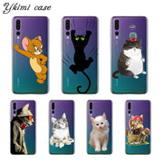 Ykimi Case Transparent Soft TPU Silicone Super Cute Cartoon Cat Cover For Huawei P8 P9 P20 Lite 2017 P20 Pro Case