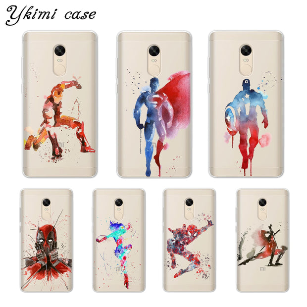 Ykimi Case Super Hero Doodle Cover For Xiaomi Redmi 4x 4a 5 Plus 5a 6 Pro Note 4x 5 Pro 5a Case Transparent Soft TPU Silicone