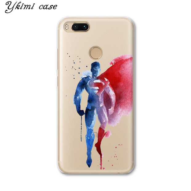 Ykimi Case Fashion Doodle Super Hero Cover For Xiaomi Mi 5 6 6x A1 A2 8 Se Mix 2 2s Max 3 Case Transparent Soft TPU Silicone