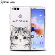 Ykimi Case For Huawei Honor 6A 7X 8 9 9i 10 Case Fashion Cute Cartoon Cat Design Cover Transparent TPU Soft Silicone Phone Capa